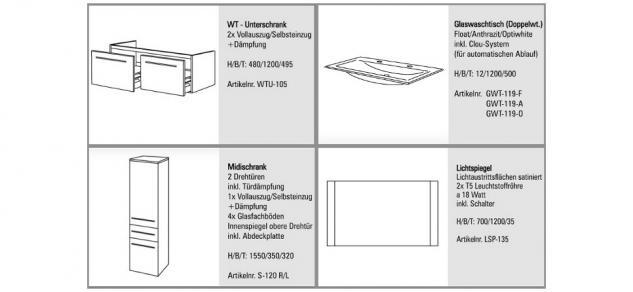 BadmÖbel Set BadezimmermÖbel Design Badset Mit 120 Cm Glas- Doppelwaschtisch Neu - Vorschau 2