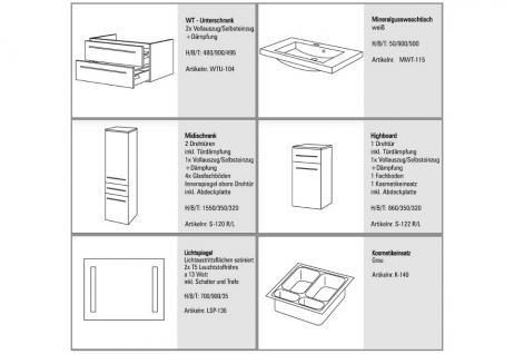 BadmÖbel Set Komplett Design BadezimmermÖbel Inkl. Lichtspiegel + Waschtisch Neu - Vorschau 2