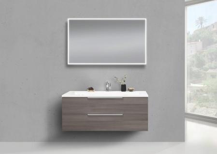 Intarbad CUBO Badmöbel Set 120 cm Waschtisch mit Unterschrank und Lichtspiegel