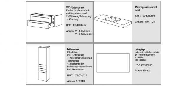 BADMÖBEL SET DESIGN BADEZIMMERMÖBEL BADEZIMMER WASCHBECKEN WASCHTISCH 120 CM NEU - Vorschau 2