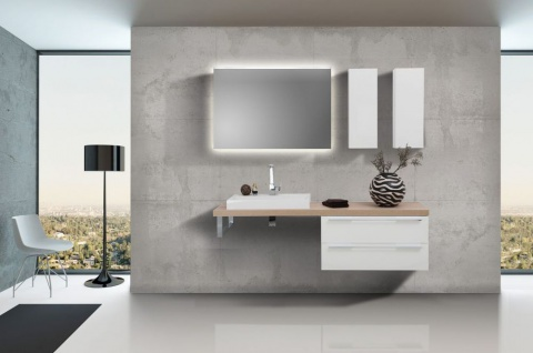 Badmöbel Set mit Lichtspiegel, Design Waschbecken und Waschtischplatte nach Maß in Eiche