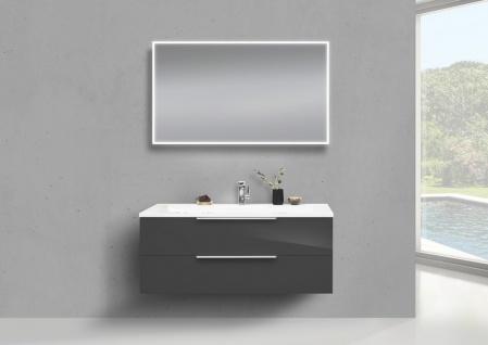 Badmöbel Set 120 cm Waschtisch Evermite, mit Unterschrank und Led Lichspiegel
