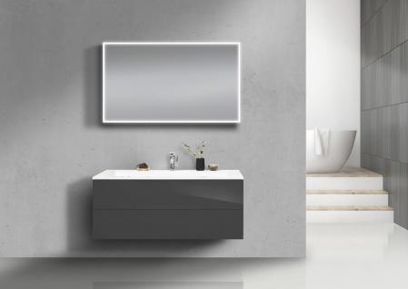 Badmöbel Set grifflos 120 cm Waschtisch Evermite, mit Unterschrank und Led Lichtspiegel