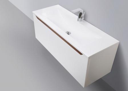 Design Badmöbel Set Waschtisch 120 cm Nussbaum Griffleiste - Vorschau 2