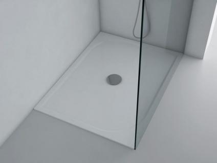 Duschwanne 120x90cm ANDRIA Mineralguss Duschtasse flach bodengleich inkl. Füße und Ablauf