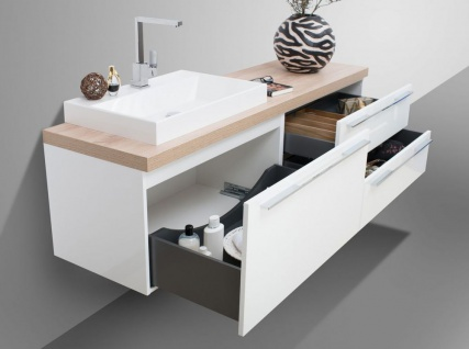 Badezimmer Set mit LED Lichtspiegel, Unterschrank und Waschtischplatte nach Maß in Eiche - Vorschau 5