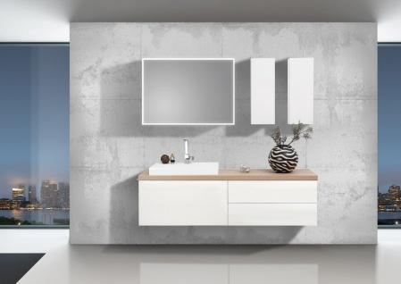 Design Badmöbel Set LUXOR grifflos 180cm , Waschtischplatte nach Maß bestellbar, weiß hochglanz