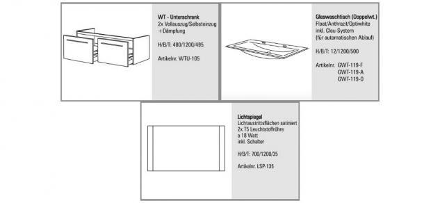 BadmÖbel Set BadezimmermÖbel Badset 120 Cm Glas- Doppelwaschtisch & Lichtspiegel - Vorschau 2