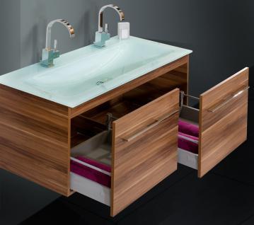 BadmÖbel Set BadezimmermÖbel Badset 120 Cm Glas- Doppelwaschtisch & Lichtspiegel - Vorschau 4