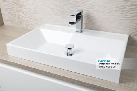Badezimmer Set mit LED Lichtspiegel, Unterschrank und Waschtischplatte nach Maß in Eiche - Vorschau 3