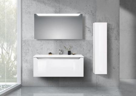 Badmöbel Made in Germany, 120 cm Waschtisch mit LED Spiegel und Seitenschrank