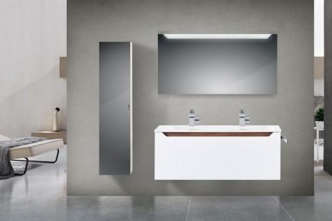 Design Badmöbel Set 120 Doppelwaschtisch Griffleiste: Nussbaum Tiepolo