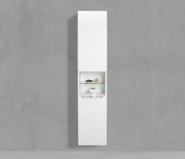 Bad Hochschrank mit Wäschekippe Seitenschrank H/B/T: 175/40/32, 5cm Weiß Hochglanz Lack