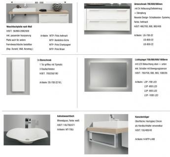 Design Badezimmer Set mit LED Lichtspiegel und Oberschrank - Vorschau 2