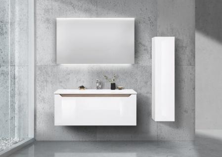 Badezimmermöbel Set grifflos 120cm Waschtisch, Led Spiegel und Hochschrank