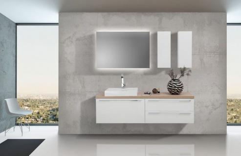 Badezimmer Set mit LED Lichtspiegel, Unterschrank und Waschtischplatte nach Maß in Eiche