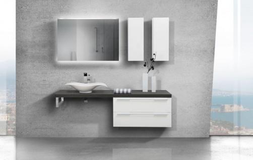 Design Badezimmer Set mit LED Lichtspiegel und Oberschrank