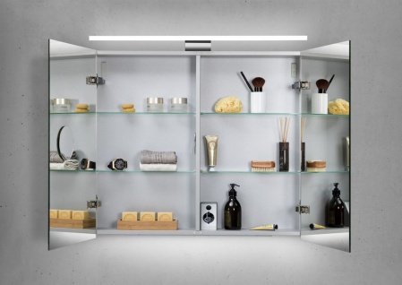 Badmöbel Set grifflos, Waschtischplatte nach Maß bestellbar, mit LED Spiegelschrank - Vorschau 5