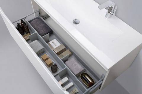 Design Badmöbel Set Waschtisch 120 cm Nussbaum Griffleiste - Vorschau 4