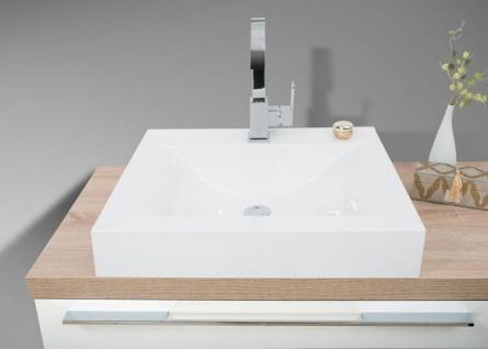 Badezimmer Set mit LED Lichtspiegel, Unterschrank und Waschtischplatte nach Maß in Eiche - Vorschau 4