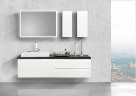 Badmöbel LUXOR grifflos 180 cm , Waschtischplatte nach Maß, weiß hochglanz