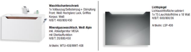 BadmÖbel Set Monza BadezimmermÖbel Design Badset Plus 80 Cm Waschtisch - Vorschau 2