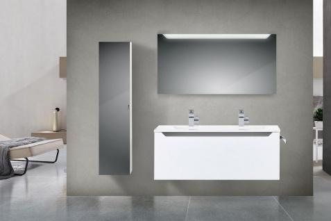 Design Badmöbel Set mit 120 cm Doppelwaschtisch Grau Hochglanz Griffleiste