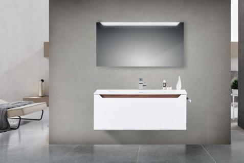 Design Badmöbel Set Waschtisch 120 cm Nussbaum Griffleiste