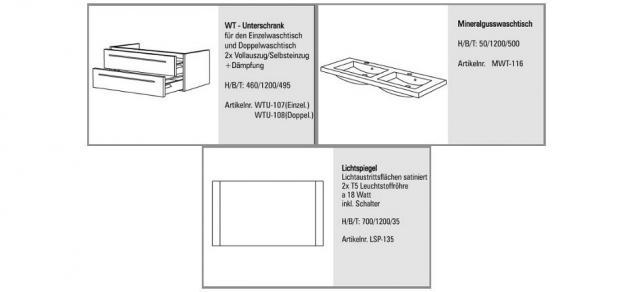 DESIGN BADMÖBEL SET PLUS SPIEGEL BADSET WASCHBECKEN DOPPELWASCHTISCH 120 CM - Vorschau 2