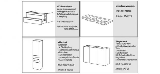 BADMÖBEL SET DESIGN BADEZIMMERMÖBEL BADEZIMMER WASCHBECKEN SPIEGELSCHRANK 120 - Vorschau 2