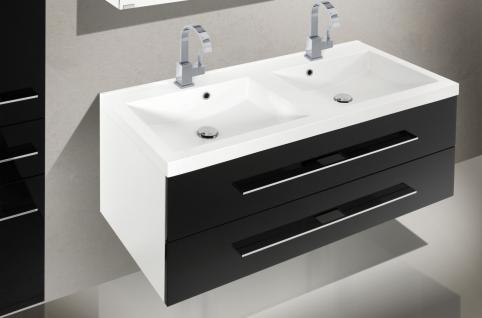 Badset Design BadezimmermÖbel Badezimmer Waschbecken Spiegelschrank 120 - Vorschau 3