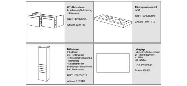 badm bel set badezimmerm bel badezimmer waschbecken doppelwaschtisch 120 cm kaufen bei intar. Black Bedroom Furniture Sets. Home Design Ideas