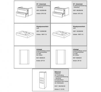 BadmÖbel Set Design BadezimmermÖbel Badset Inkl. 2 Waschtisch + 2 Lichtspiegel - Vorschau 2