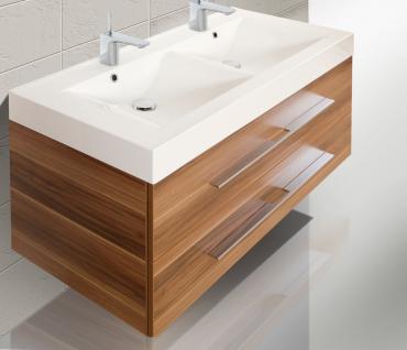 BadmÖbel Set BadezimmermÖbel Design Badset 120 Cm Doppelwaschtisch Lichtspiegel - Vorschau 3