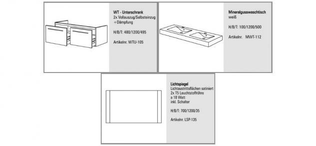 BadmÖbel Set Komplett BadezimmermÖbel Design Badset 120 Cm Doppelwaschtisch - Vorschau 2