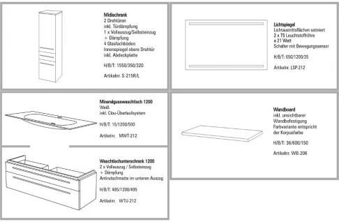 BADMÖBEL SET BADEZIMMERMÖBEL DESIGN BADSET MIT 120 CM LICHTSPIEGEL + WASCHBECKEN - Vorschau 1
