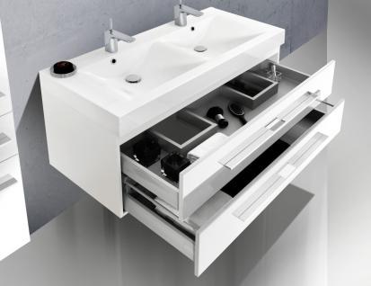 BadmÖbel Set Design BadezimmermÖbel Badset Doppelwaschtisch + Lichtspiegel 120cm - Vorschau 4