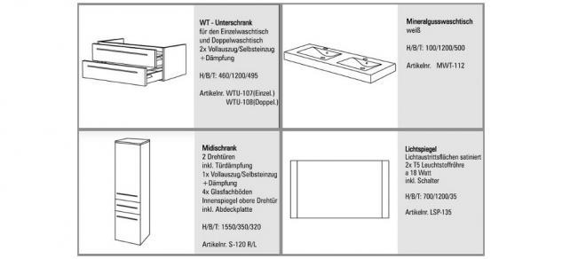 BadmÖbel Set Design BadezimmermÖbel Badset Doppelwaschtisch + Lichtspiegel 120cm - Vorschau 2