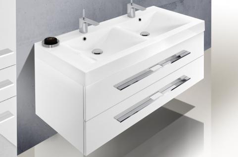 BadmÖbel Set Design BadezimmermÖbel Badset Doppelwaschtisch + Lichtspiegel 120cm - Vorschau 3