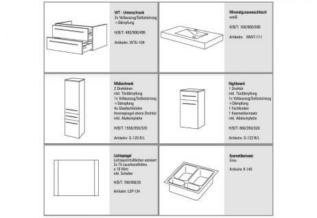BadmÖbel Set Komplett Design BadezimmermÖbel Lichtspiegel & Hochglanz Lack Neu - Vorschau 2