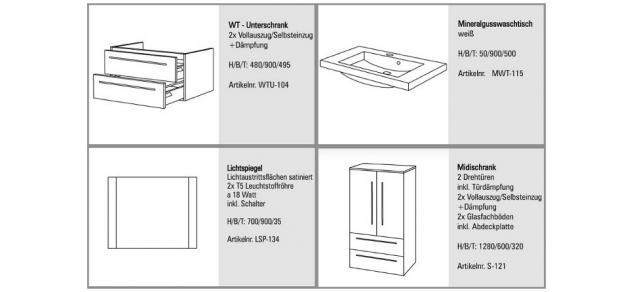 BadmÖbel Set BadezimmermÖbel Design Waschbecken + Lichtspiegel 90 Cm Neu - Vorschau 2