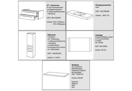 BADMÖBEL SET BADSET DESIGN BADEZIMMERMÖBEL WASCHBECKEN WASCHTISCH 120 CM - Vorschau 2