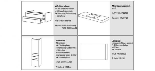 BadmÖbel Set Komplett Badset Design BadezimmermÖbel Waschtisch 120 Cm Neu - Vorschau 2