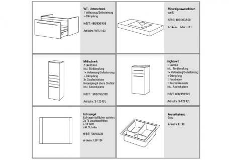 BADMÖBEL SET BADSET DESIGN BADEZIMMERMÖBEL inkl. 90 CM LICHTSPIEGEL + WASCHTISCH - Vorschau 2