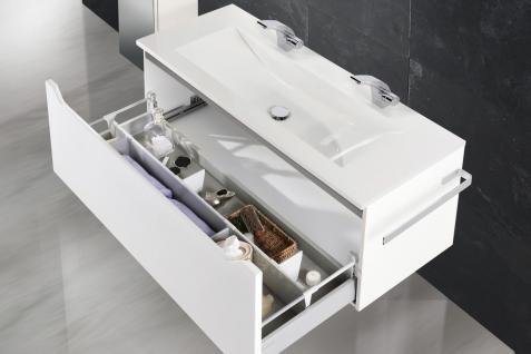 Badset Monza Design BadezimmermÖbel Inkl. Doppelwaschtisch 120 Cm Grau Leiste - Vorschau 4