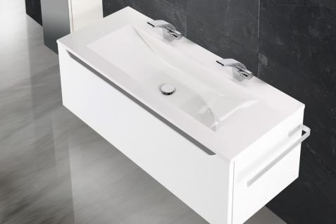 Badset Monza Design BadezimmermÖbel Inkl. Doppelwaschtisch 120 Cm Grau Leiste - Vorschau 3
