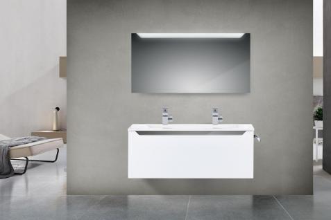 Badset Monza Design BadezimmermÖbel Inkl. Doppelwaschtisch 120 Cm Grau Leiste - Vorschau 1