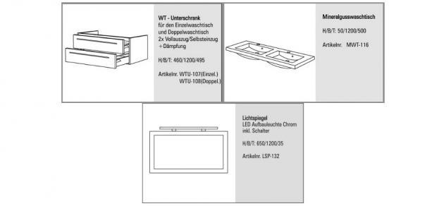 BadmÖbel Set BadezimmermÖbel Salerno Design Badset 120 Cm Doppelwaschtisch Neu - Vorschau 2