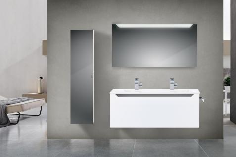 Badset Monza BadezimmermÖbel Design Mit 120 Cm Doppelwaschtisch Grau Griffleiste - Vorschau 1