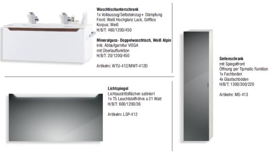 Badset Monza BadezimmermÖbel Design Mit 120 Cm Doppelwaschtisch Grau Griffleiste - Vorschau 2